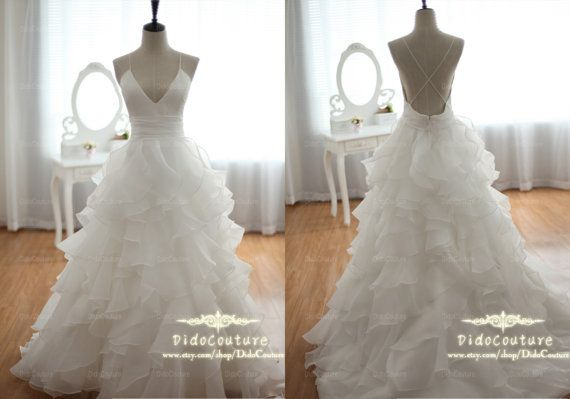 Spaghetti Straps Ball Gown V-neck Open Back Wedding Dress