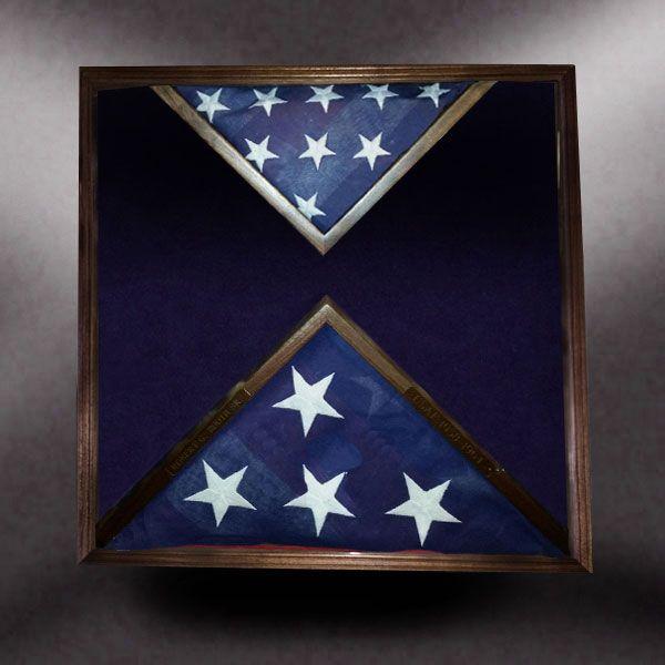 24x24x4 Walnut With 5x9 Bottom Center And 3x5 Top Center Flag Frames Greg Seitz Woodworking Framed Flag Military Shadow Box Flag Display