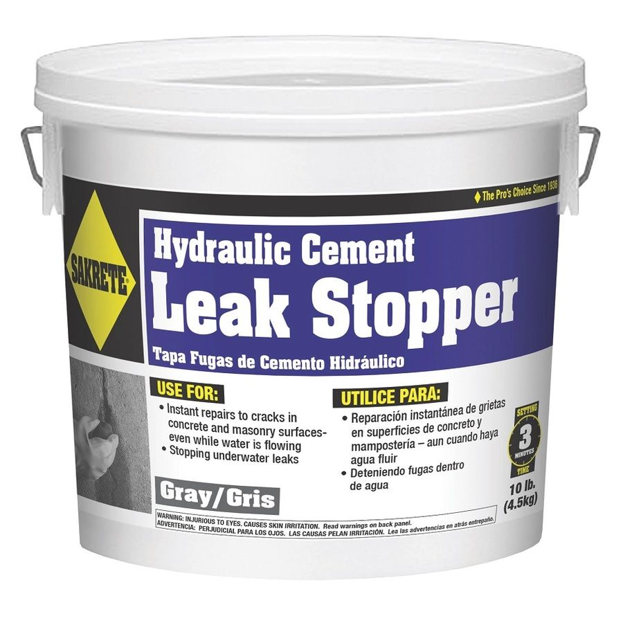 Sakrete Leak Stopper Hydraulic Cement Gray For Use With Concrete And Patch 10 Lb Lowes Com In 2020 Concrete Leak Repair Leaking Basement