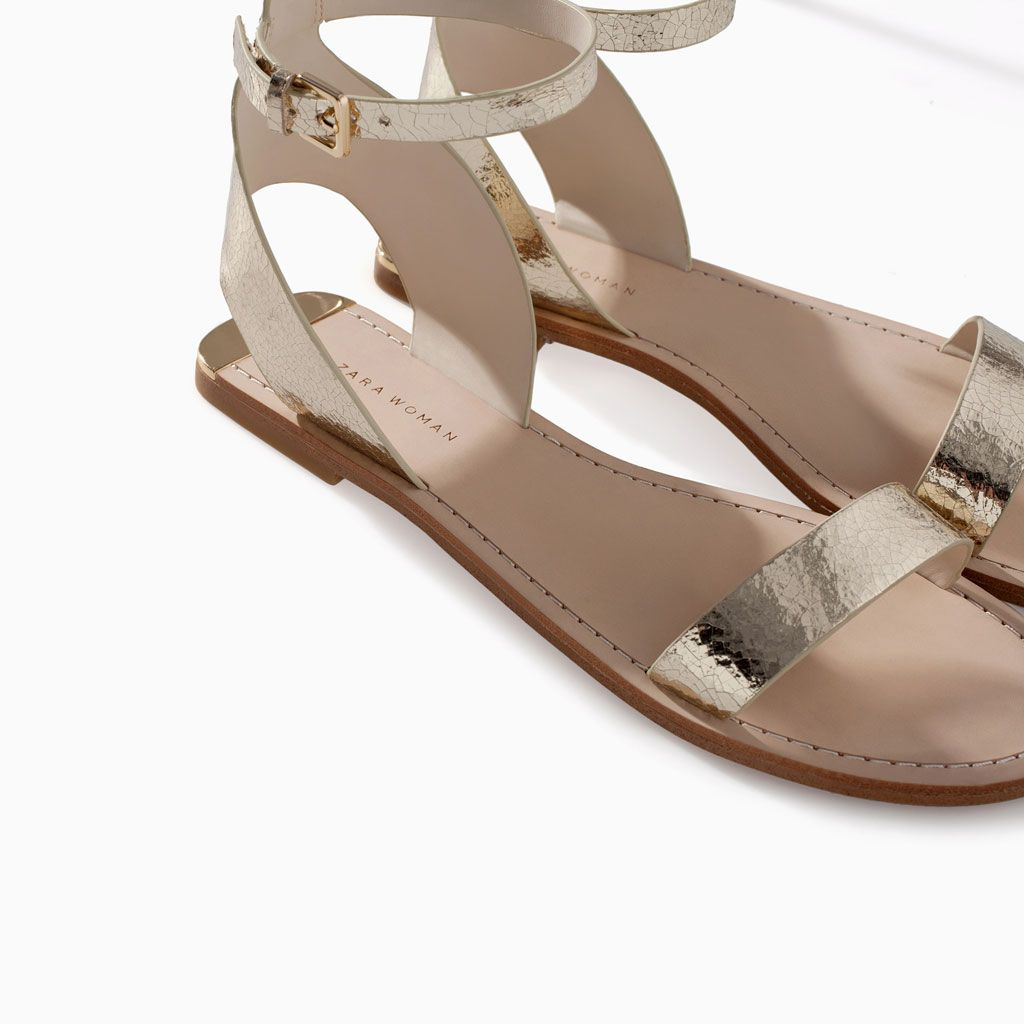 ff3e1a249 Image 4 of METALLIC LEATHER SANDAL WITH ANKLE STRAP from Zara