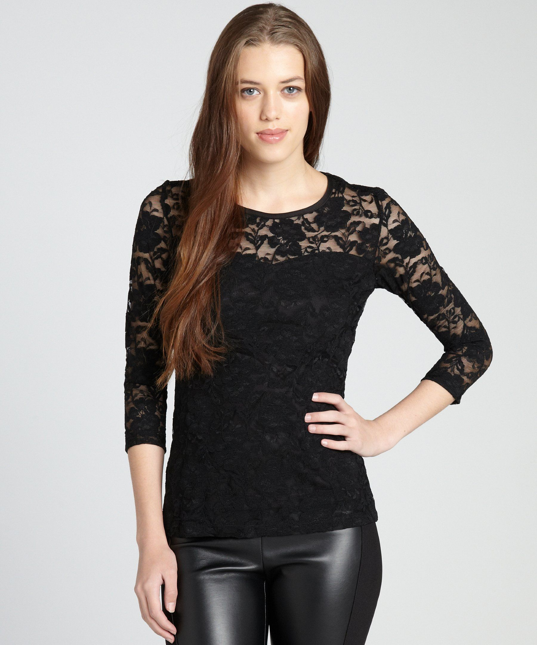 b421ee0597d Annalee + Hope black lace sheer yoke sweetheart bodice long sleeve top