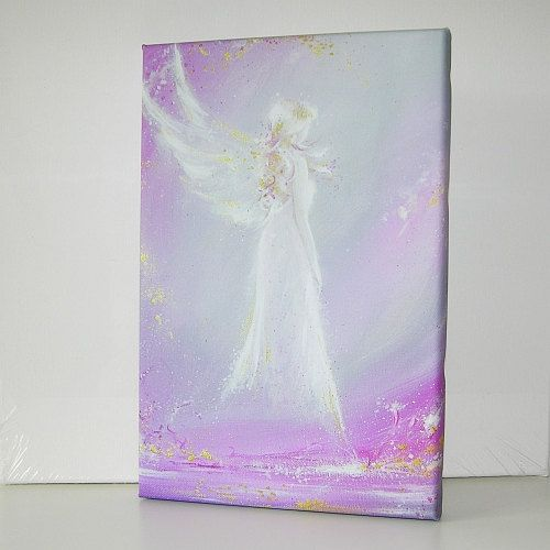 """Angel print on canvas streched on wooden frame /""""Way in your heart/"""" 8x12 inches"""