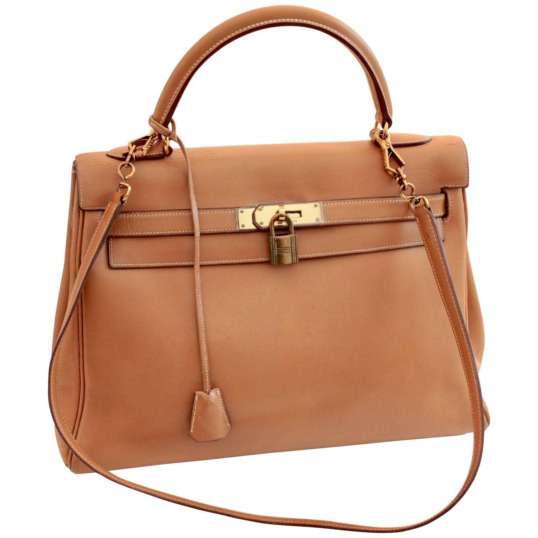 9971dfee4583a Hermes Kelly Bag 32cm Gold Box Leather + Shoulder Strap Bonwit Teller 60s  Rare