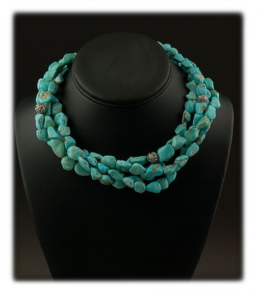 Four Strand Castle Dome Turquoise Bead Necklace