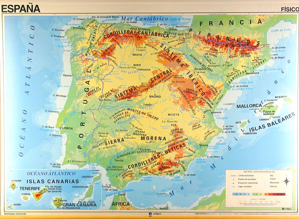 Physical Map Of Spain Spain Pinterest - Map of spain