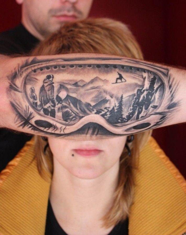 Awesome ski google reflection mountain tattoo