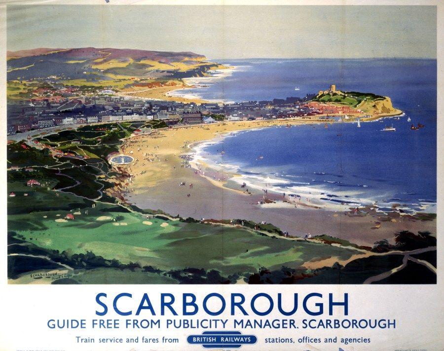 Vintage British Rail Scarborough Bay Railway Poster Print A3//A4