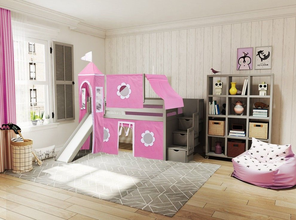 Jackpot Princess Twin Low Loft Gray Stairway Bed, Pink and