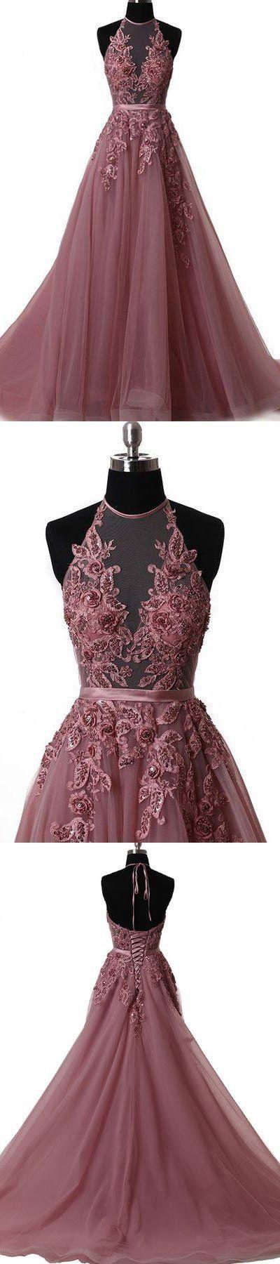 Unique tulle lace applique long prom dress, tulle evening dress c887 #spitzeapplique