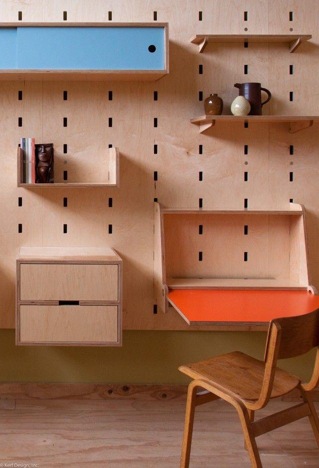 Kerfwall shelf system drop down desk workspace muebles y for Muebles de chapa