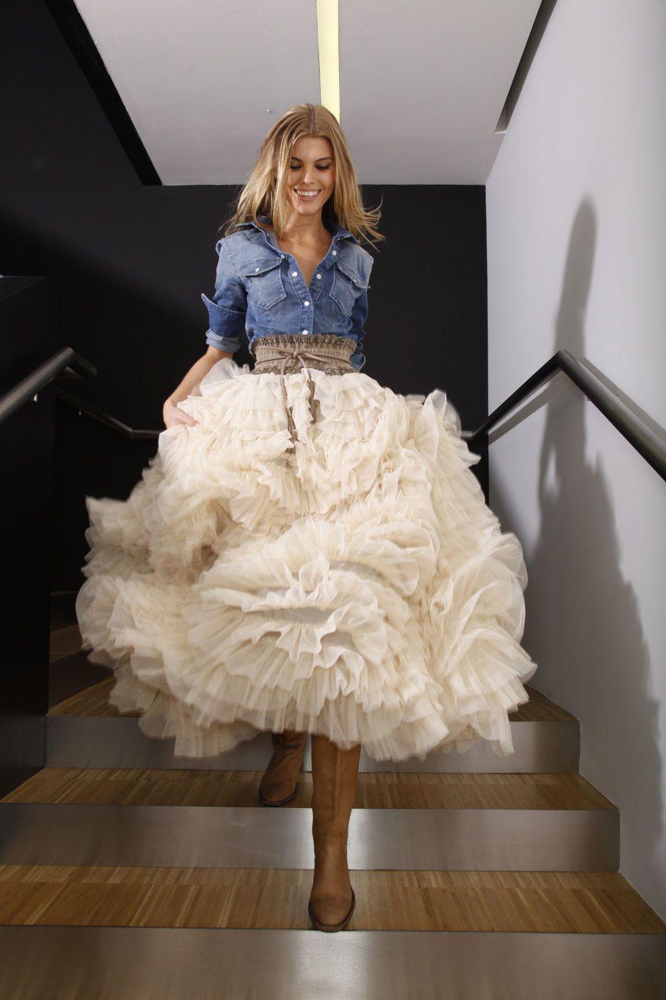 пышная юбкамиди с воланами Одеждаобразы pinterest image