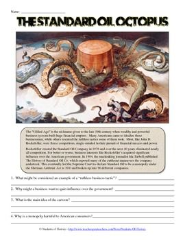 This Simple Worksheet Includes A Primary Source Political Cartoon