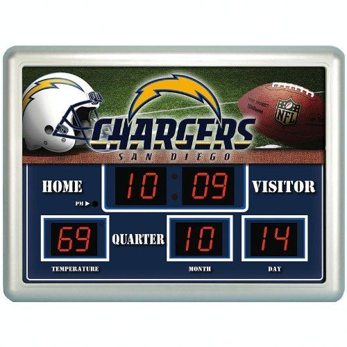 San Diego Chargers Football Scores: NFL San Diego Chargers 14x19 Inch ScoreBoard-Clock