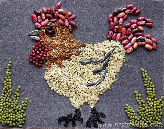 Rooster Seed Mosaic | Seed art, Seed craft, Mosaic crafts kids