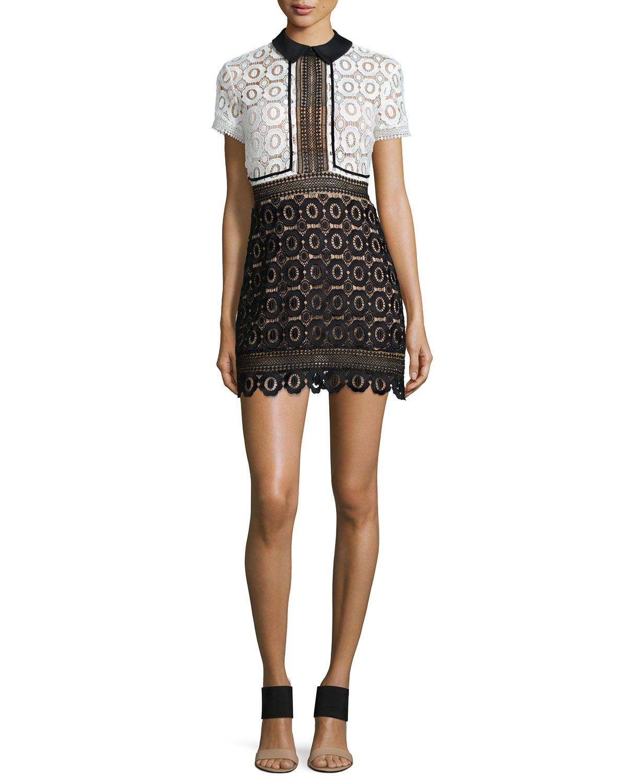 3ba2c93070da Felicia Collared Lace Dress, Black/White - Self Portrait | *Neiman ...