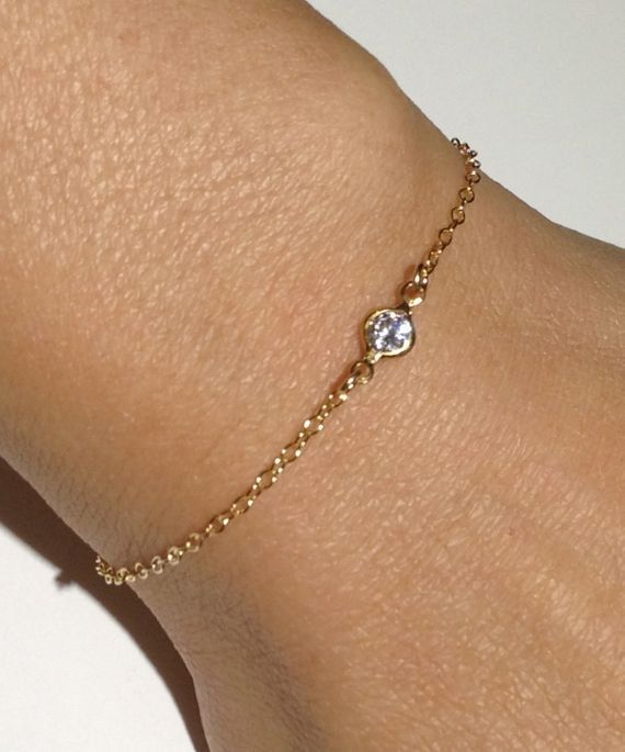 14k Gold Filled Thin Cz Bracelet Dainty Minimalist