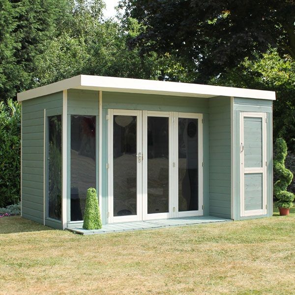 X Waltons Contemporary Summerhouse With Side Shed RH - Modern garden summer house