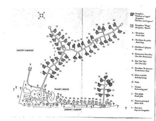 Bora Bora Intercontinental Le Moana Bungalow Map With
