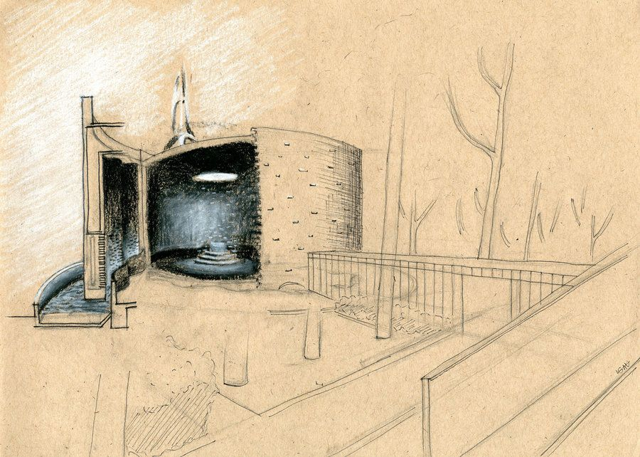 Mit Chapel Analytical Drawing Chapel Brick In The Wall Architecture Drawing