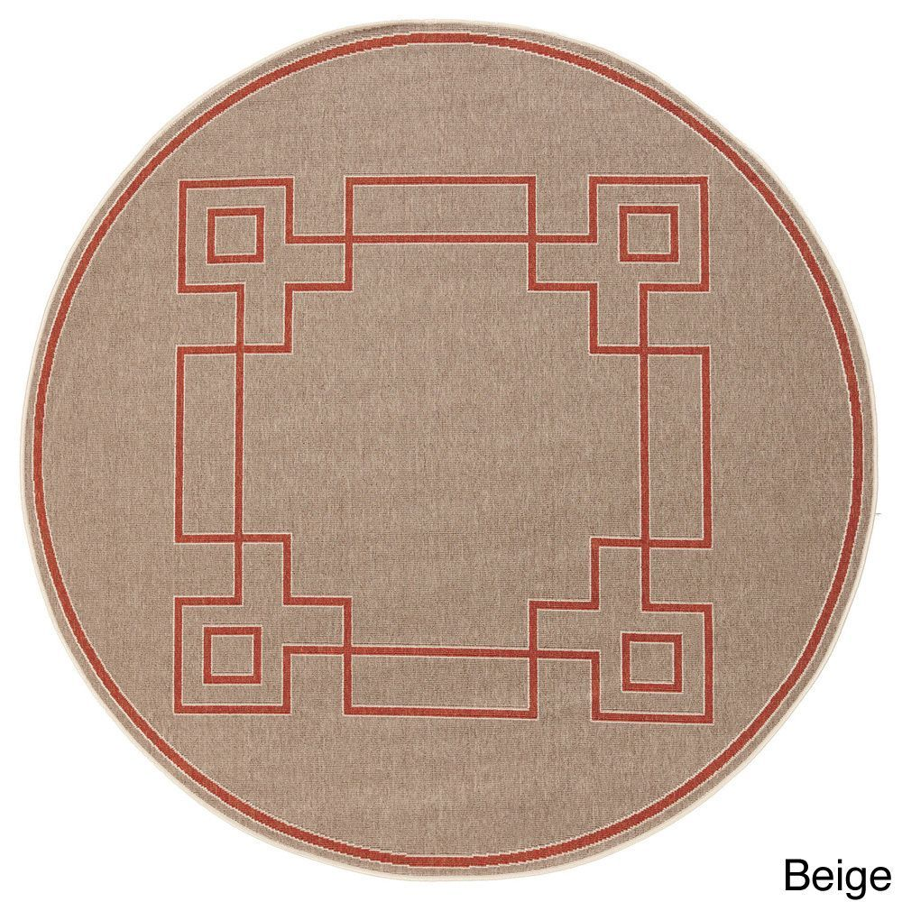 Meticulously Woven Odette Contemporary Geometric Indoor/ Outdoor Area Rug (5'3 Round) (Beige-(5'3 Round)), Brown