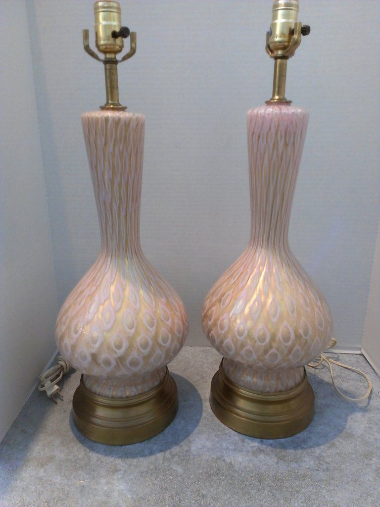 Pair Hollywood Regency Murano Glass Lamps. $450.00, via Etsy.