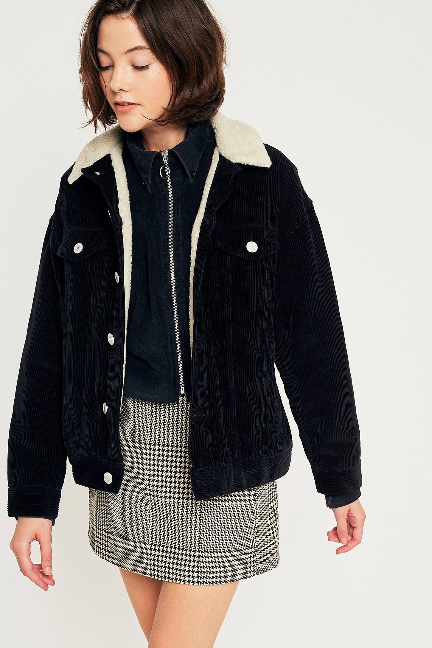 BDG Western Borg Lined Black Corduroy Jacket | Jacket outfit