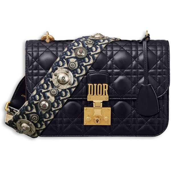 fd1a93471c1 DIORADDICT FLAP BAG IN BLUE CANNAGE LAMBSKIN WITH DIOR OBLIQUE... ❤ liked  on Polyvore featuring bags, handbags, shoulder bags, blue purse, lamb  leather ...