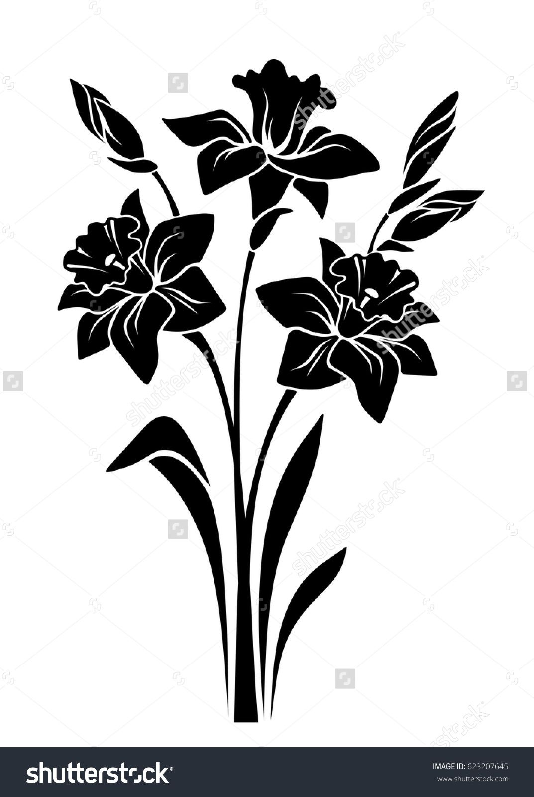 Vector black silhouette of bouquet of narcissus flowers