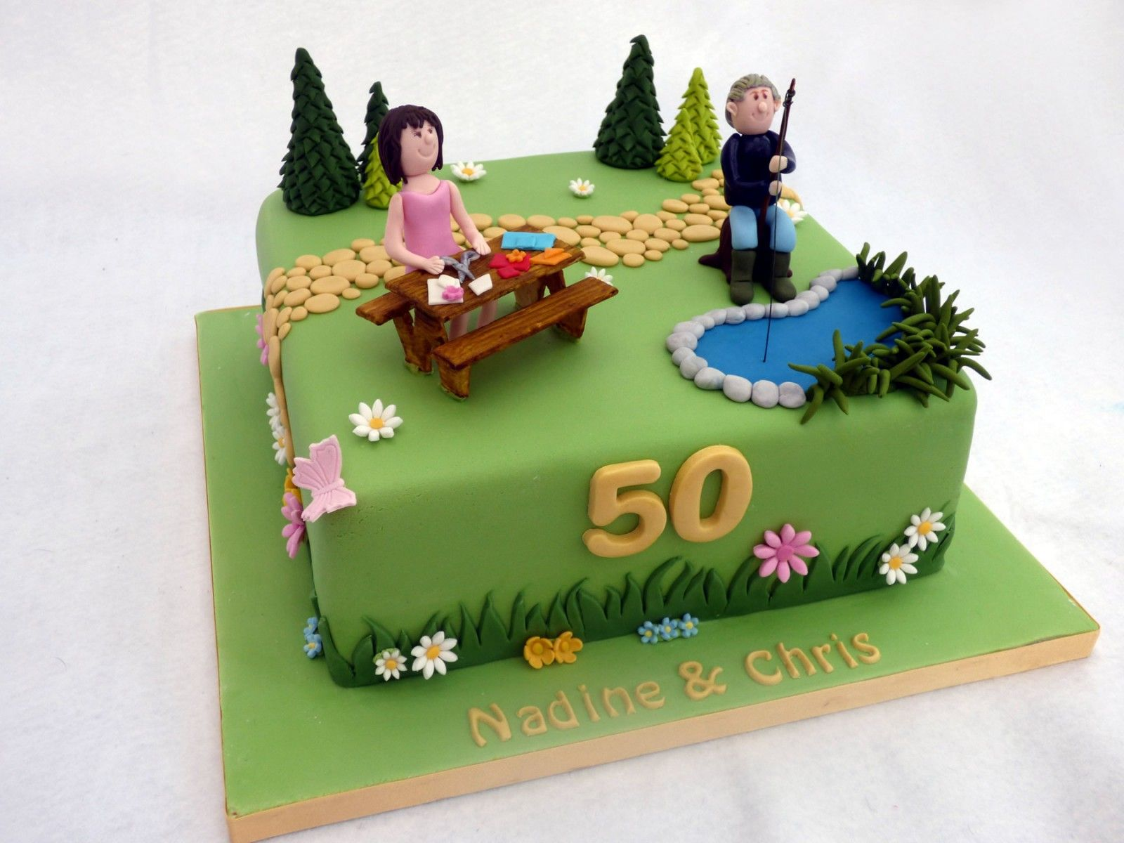 joint-50th-birthday-cake-with-a-garden-fishing-and-crafting-theme ...