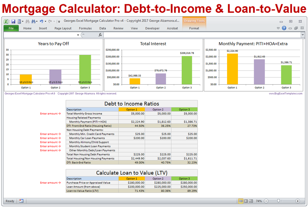 Georges Excel Mortgage Calculator Pro V4 0 Mortgage Amortization