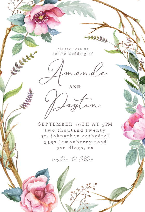 Woodland Flower Wreath Wedding Invitation Template Greetings Island Wreath Wedding Invitations Wedding Invitation Templates Flower Wedding Invitation