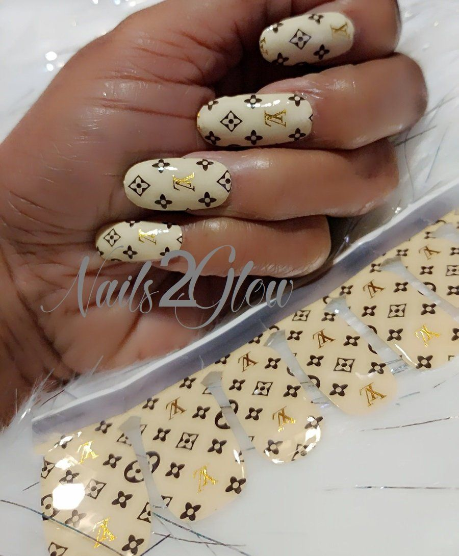 Hot trendy chic cc lv c logo nail art self adhesive 3d stickers slide decals diy health beauty nail care manicure pedicure nail ar nail art in