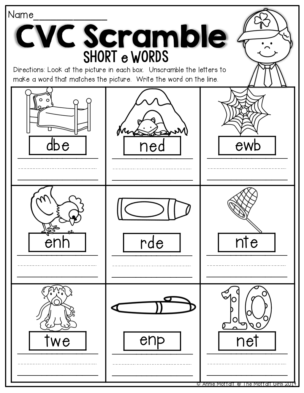 Printables Kindergarten Cvc Worksheets pictures look at and st patrick on pinterest cvc scramble unscramble the words to make a word that matches picture