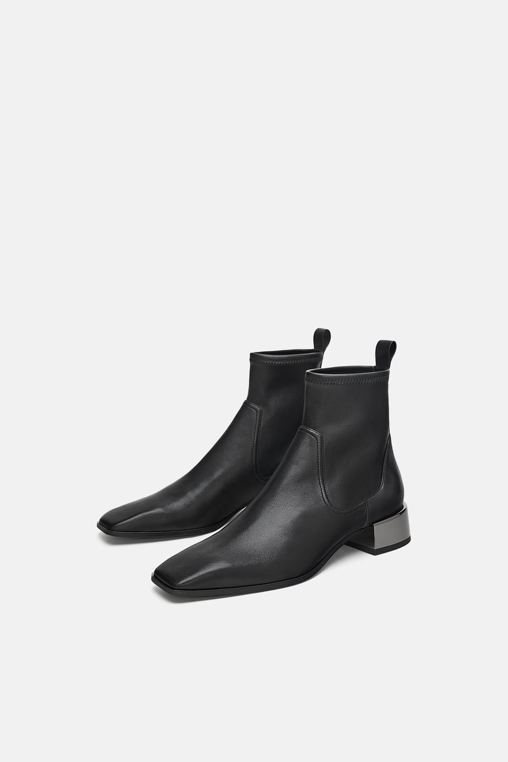 f18020af9d0 Image 1 of LOW HEELED SQUARE TOE LEATHER ANKLE BOOTS from Zara