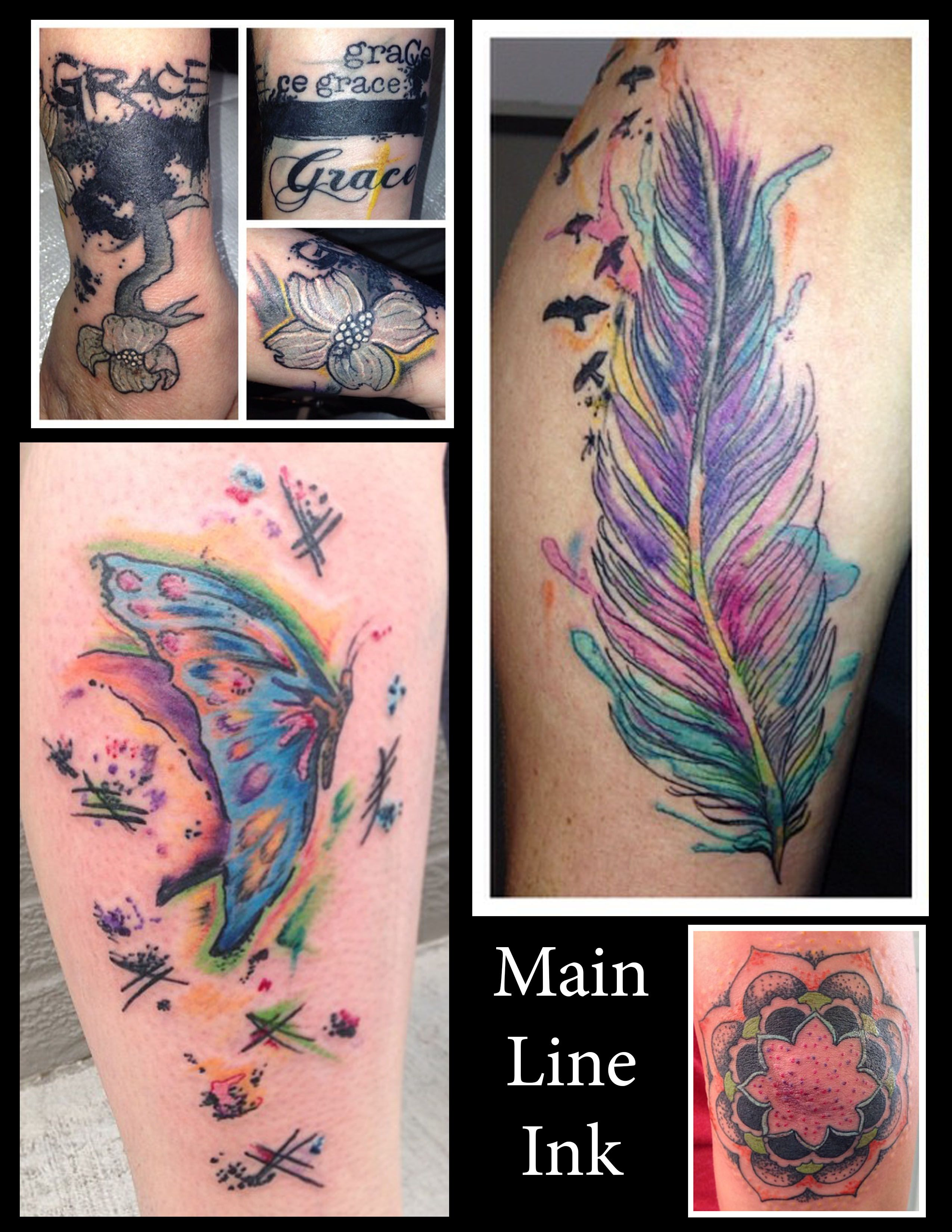 Butterfly Watercolor feather Water color Tattoo Elbow