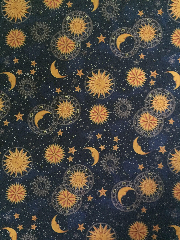 Celestial Navy Blue Hollytex Print One Yard   Arte de luna, Sol ...