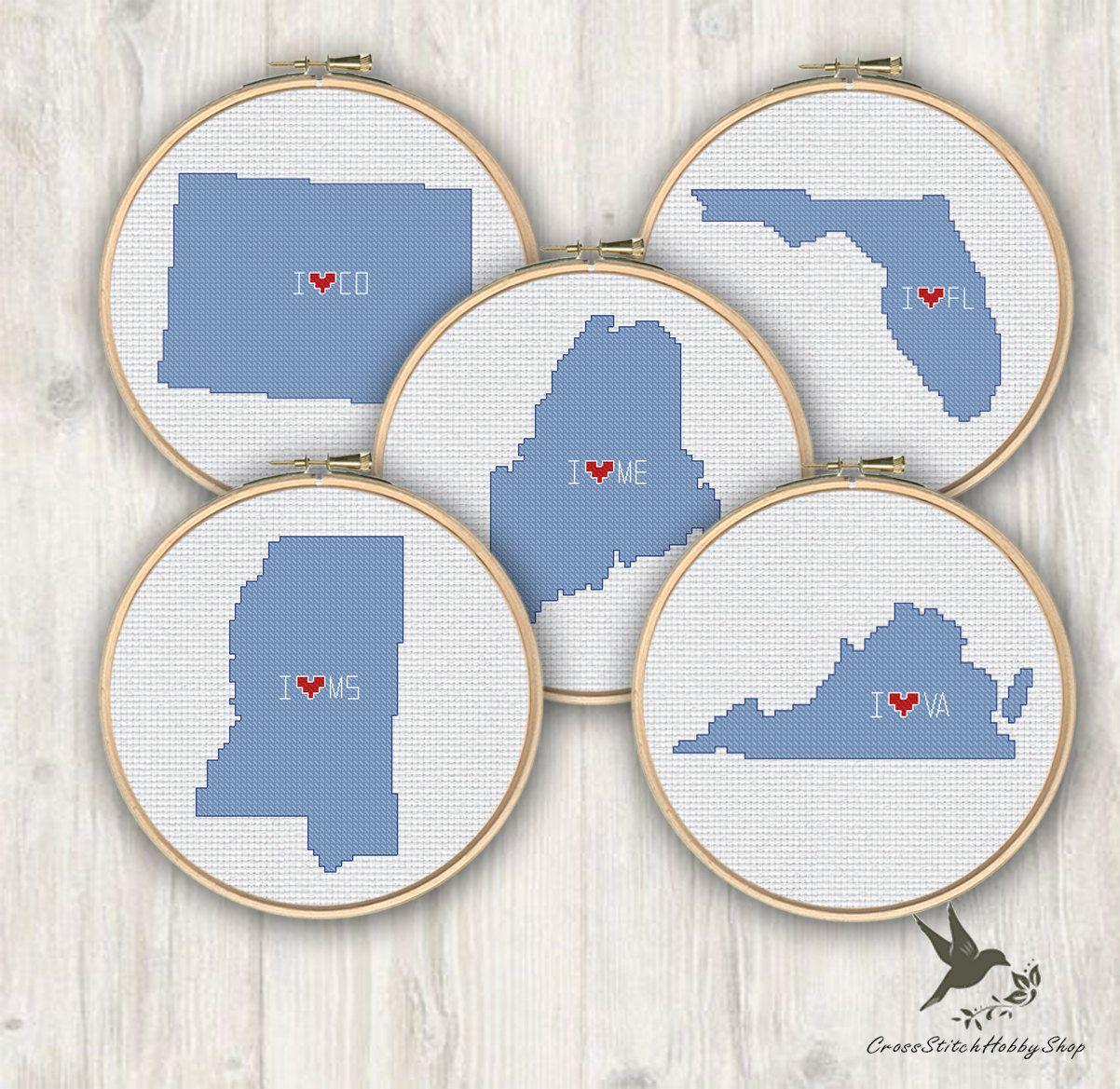 Florida Virginia Colorado Mississippi Maine Usa States Cross