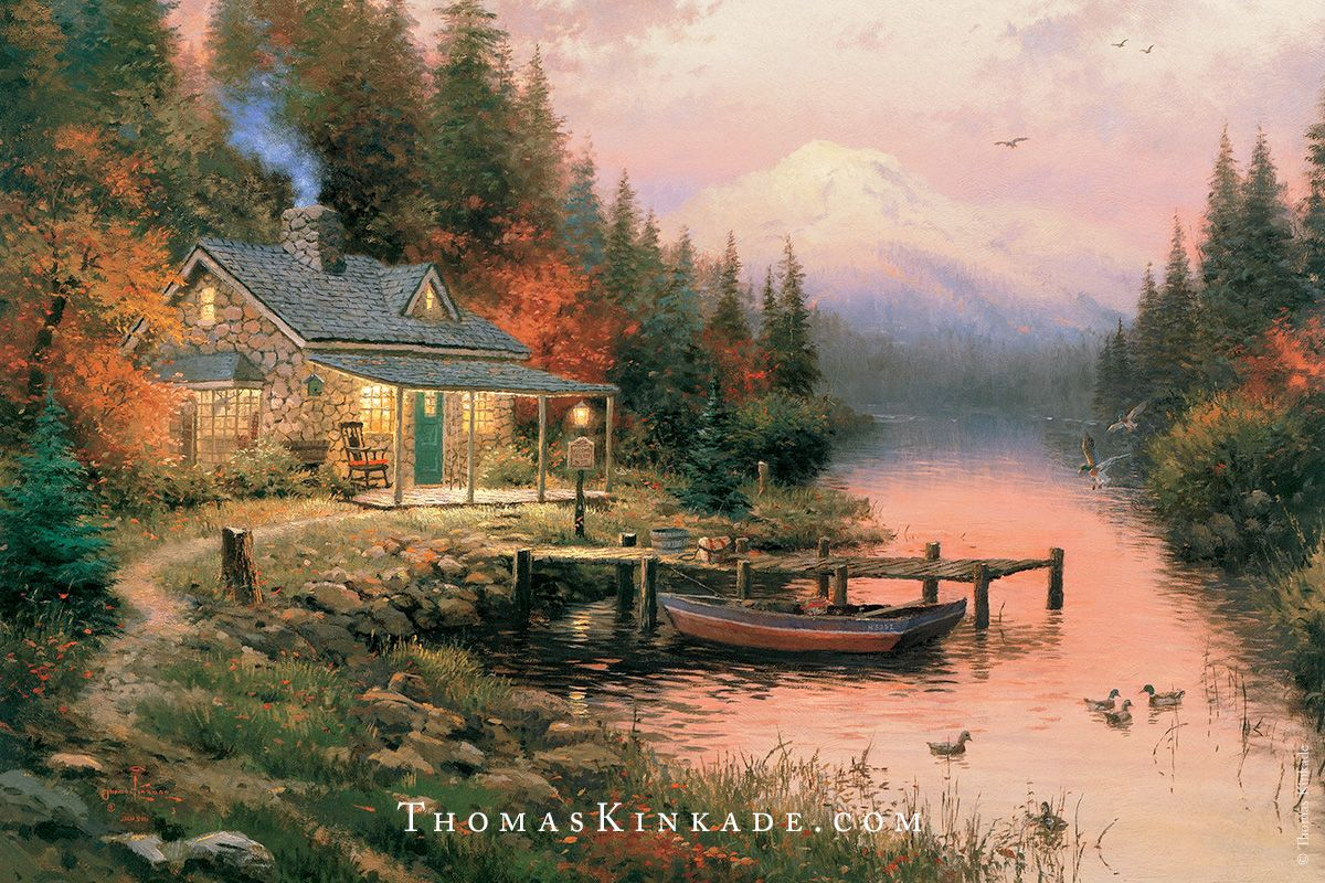 """""""The End of a Perfect Day"""" is one of Thomas Kinkade's most iconic cabin scenes. This award-winning painting depicts Thom's enjoyment of the peaceful solitude of the great outdoors - featuring a beautiful sunset, smoke coming from the chimney, and fishing poles resting on the porch. We hope that wherever you are tonight, you have a relaxing evening filled with all of the things that you enjoy."""