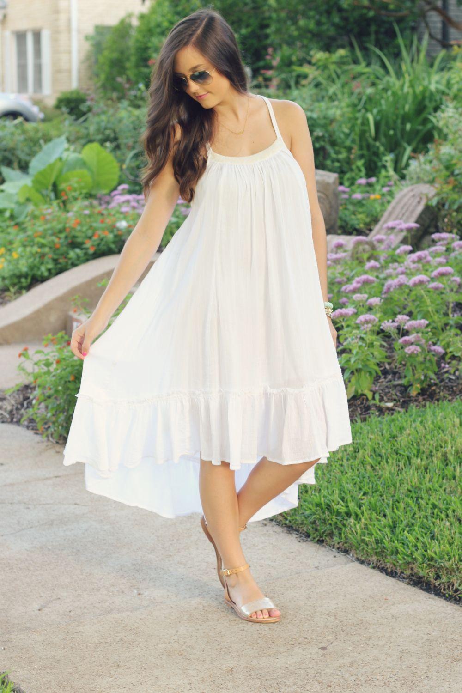 Love You Mean It Trapeze Dress Fashion White Dress [ 1500 x 1000 Pixel ]