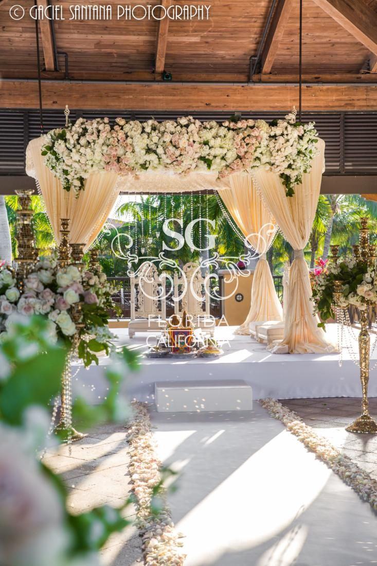 Suhaag garden indian weddings indian wedding decorators cream suhaag garden indian weddings indian wedding decorators cream ivory pink mandap fabric mandap mandap floral crystals hanging candles junglespirit Image collections