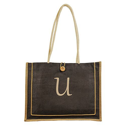 Cathy's Concepts Personalized Newport Jute Tote Bag, Monogrammed Letter U, Brown