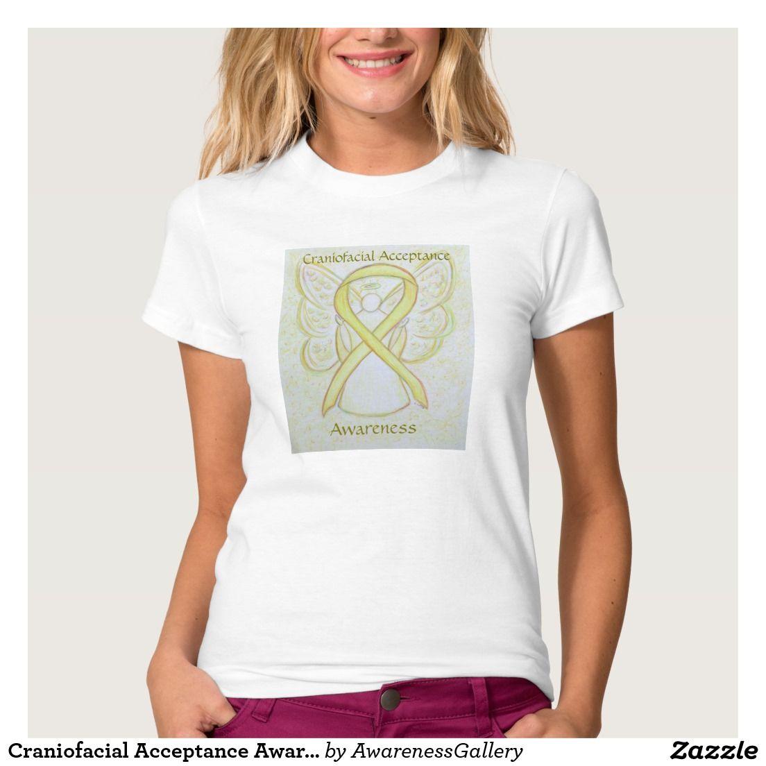 Craniofacial Acceptance Awareness Yellow Ribbon Angel Art Shirt