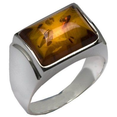 Sterling Silver Amber Rectangular Shape Stone Classic Ring