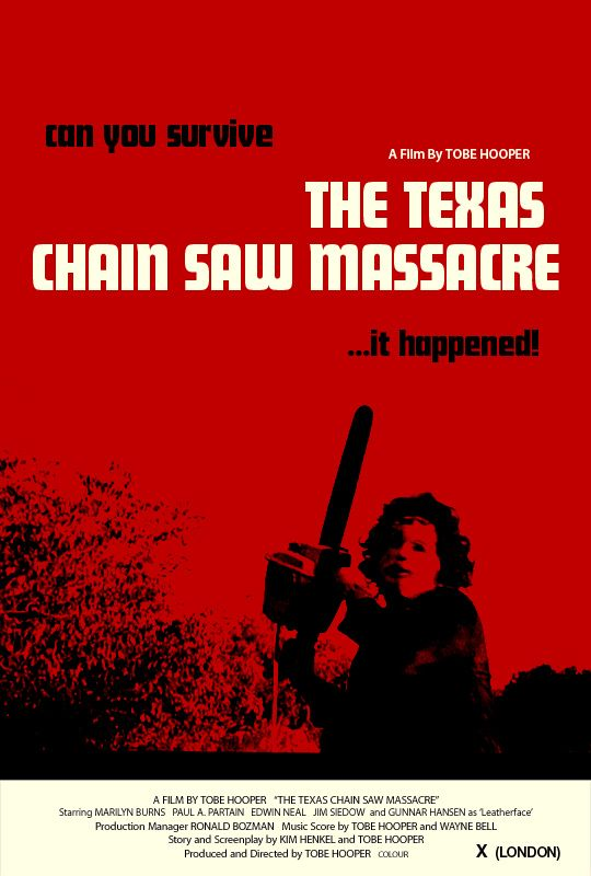 The Texas Chainsaw Massacre (1974) - Five friends visiting their grandfather's house in the country are hunted and terrorized by a chain-saw wielding killer and his family of grave-robbing cannibals.