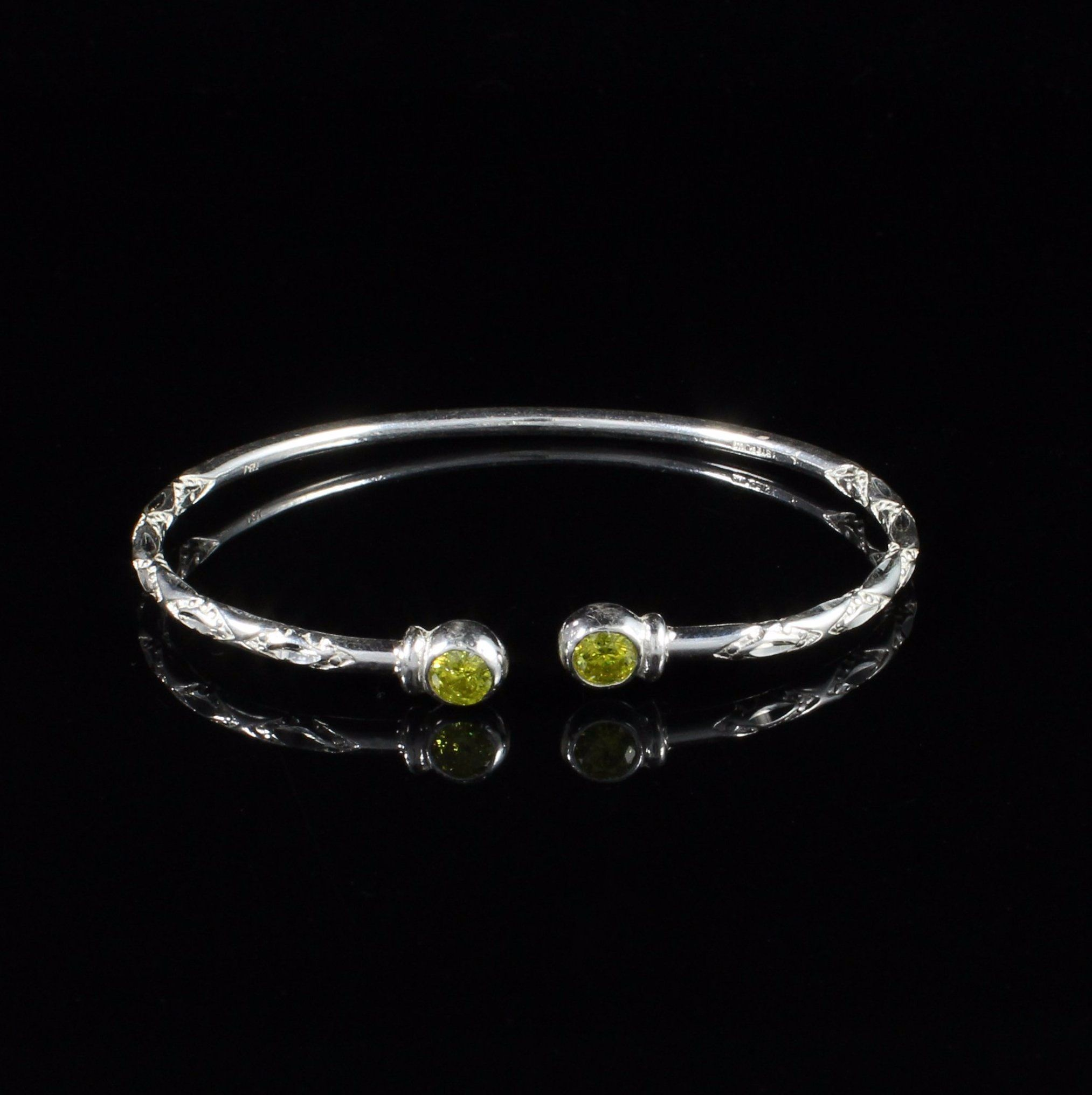 110 West Indian Bangle With Synthetic Yellow Topaz November Birthstone Handmade In 925 Sterling