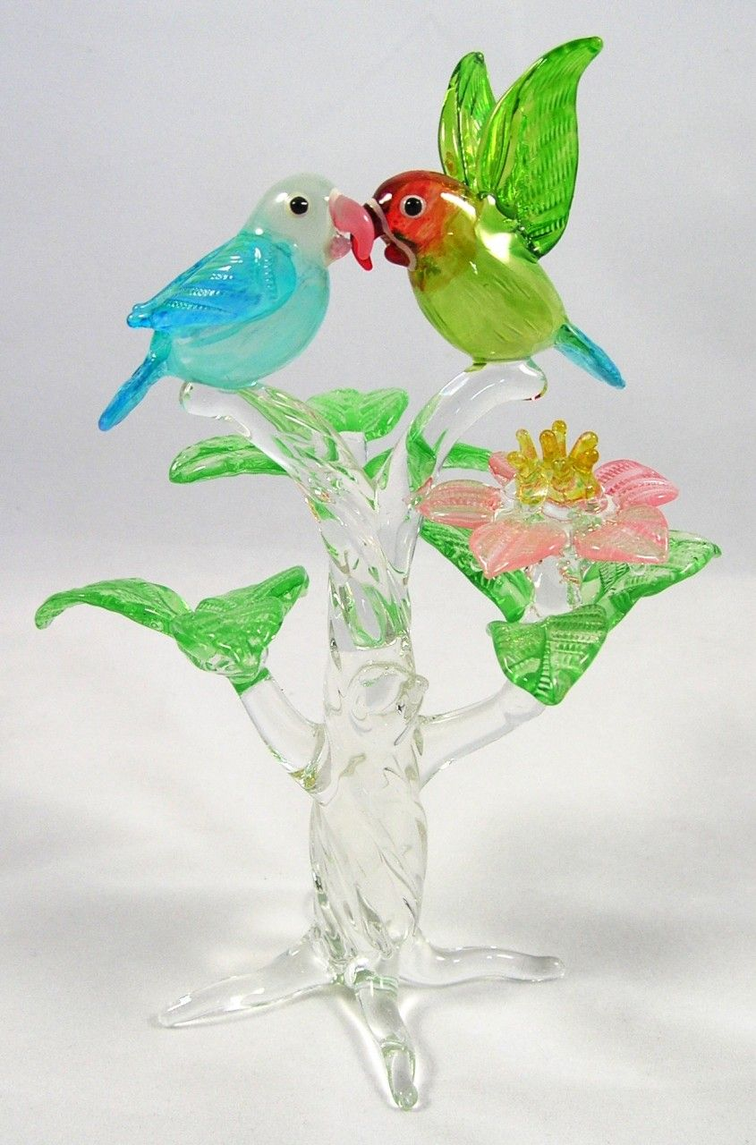 Glass animal ornaments - Blown Glass Blown Glass Parrots In Tree Figurine Cockatoo Creations