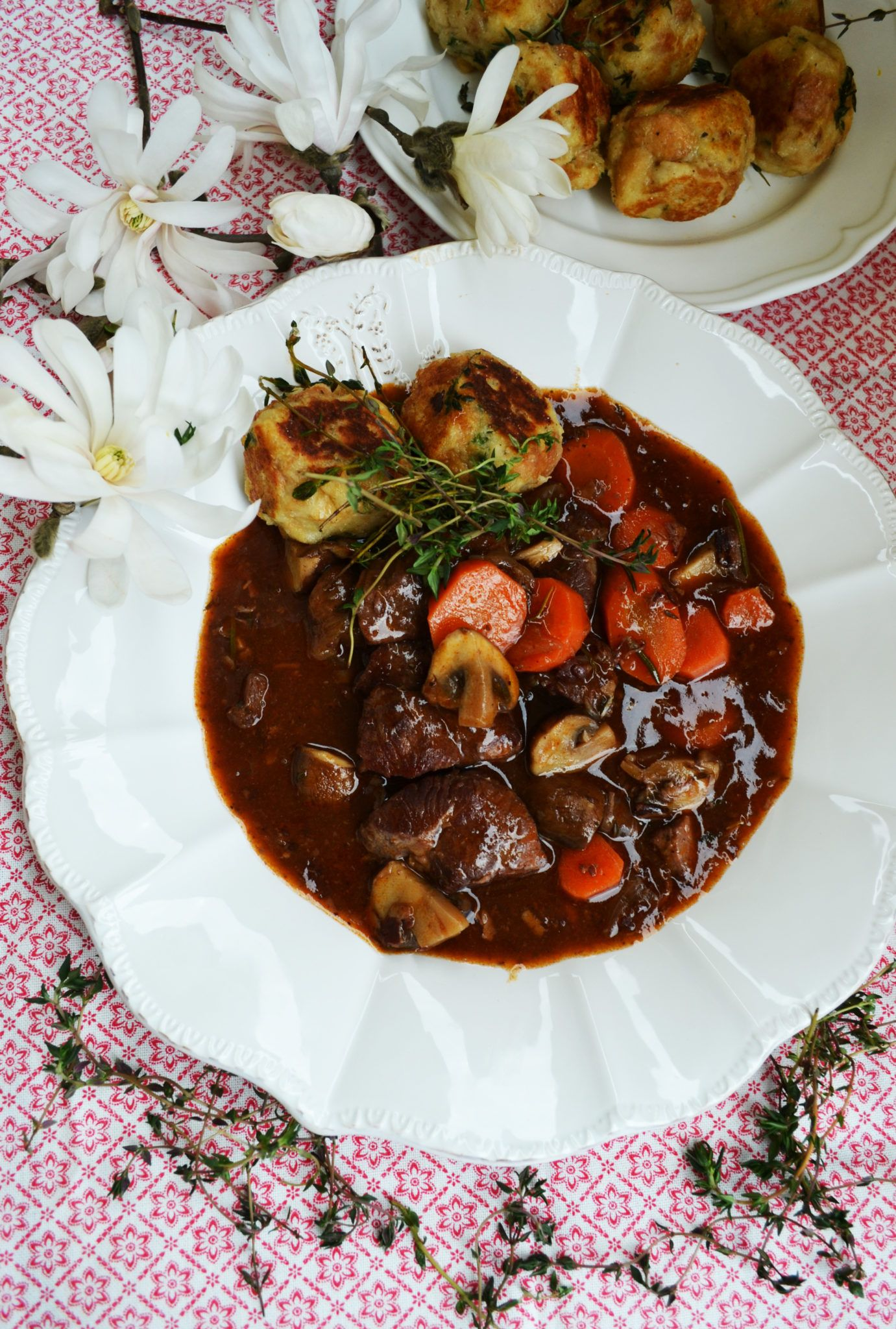 Photo of Our beloved French classic! Bœuf bourguignon with thyme baguette dumplings