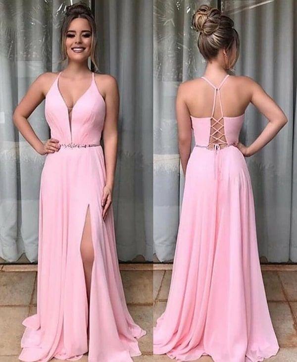 e9e3fe8eab Seleção de vestido longo rosa para madrinha de casamento