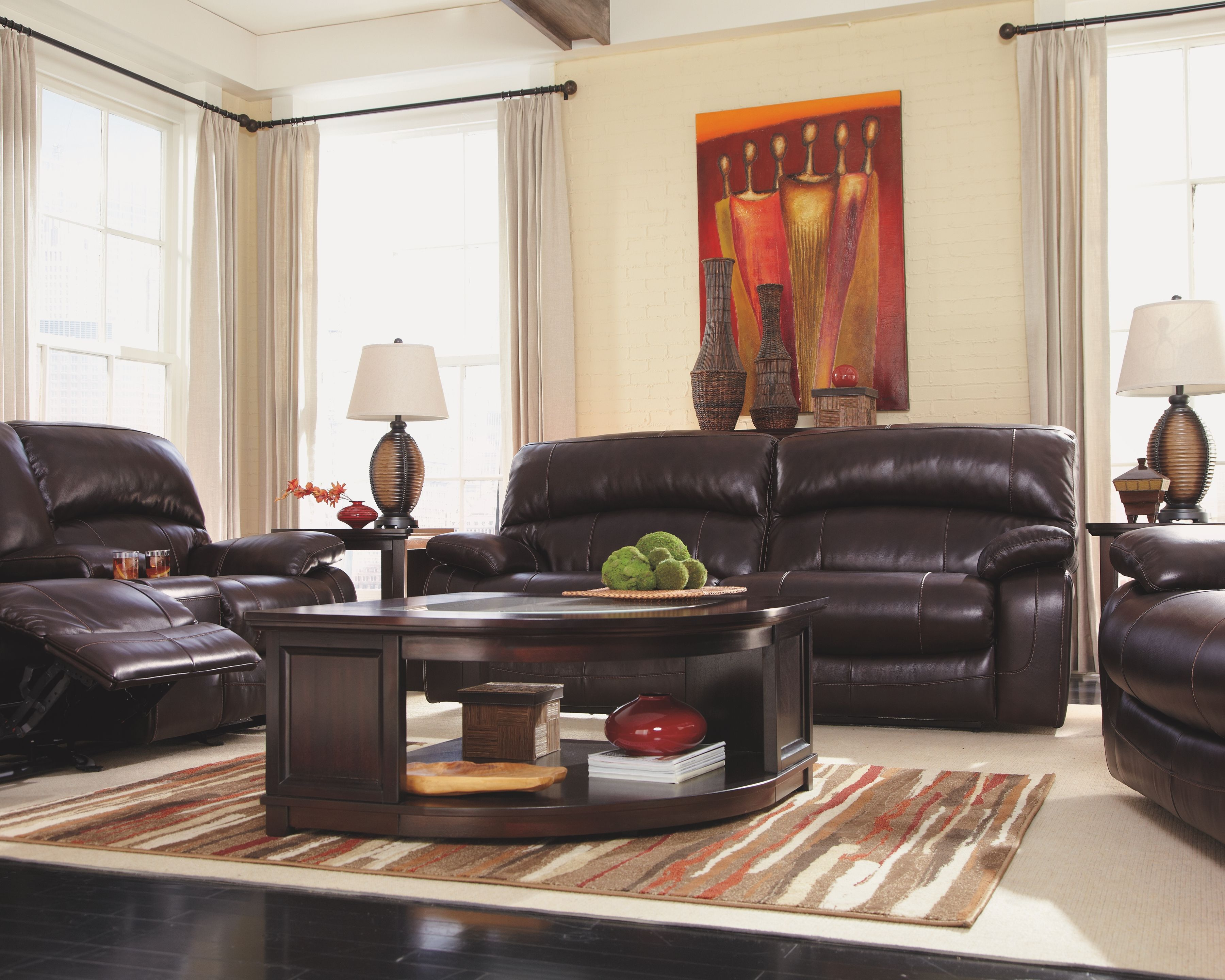 Damacio Power Reclining Sofa Dark Brown Leather Reclining Sofa