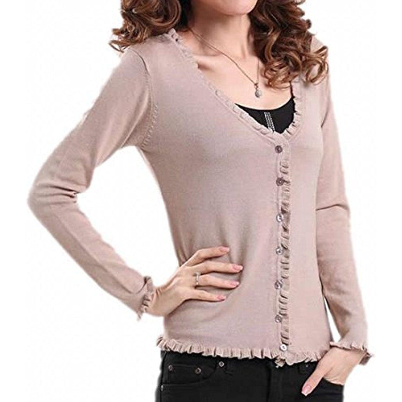 Women's Vogue Falbala Cardigans Tops Button-down Sweaters * You ...